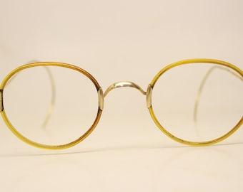 f446a10027c2 Antique Ovid Gold Tone Windsor Eyeglasses 43X37mm Vintage Lennon Frames  9809 lens size- bridge size-22mm color-Tortoise Round Lennon Vin.