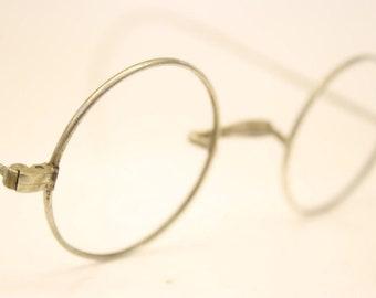 57b7a308492f Unused Vintage Round Silver Eyeglasses Frames Windsor Lennon 38mm Antique