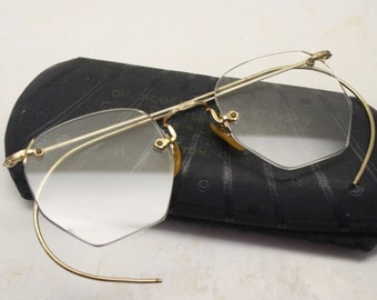 e2c02c684b Antique Eyeglasses 1 10 12k Gold Filled Shuron Rimless Ful-Vue + Case
