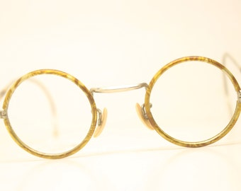 75acdbffd590 Child Size NOS Antique Round Windsor Brown Gold 34mm Vintage Eyeglasses  Unused 9058 lens size- bridge size-22mm color-Tortoise Round Len.
