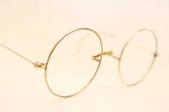 0dfc4451b Vintage Eyeglass Frames Gold Round Windsor Lennon 40mm Antique | Etsy