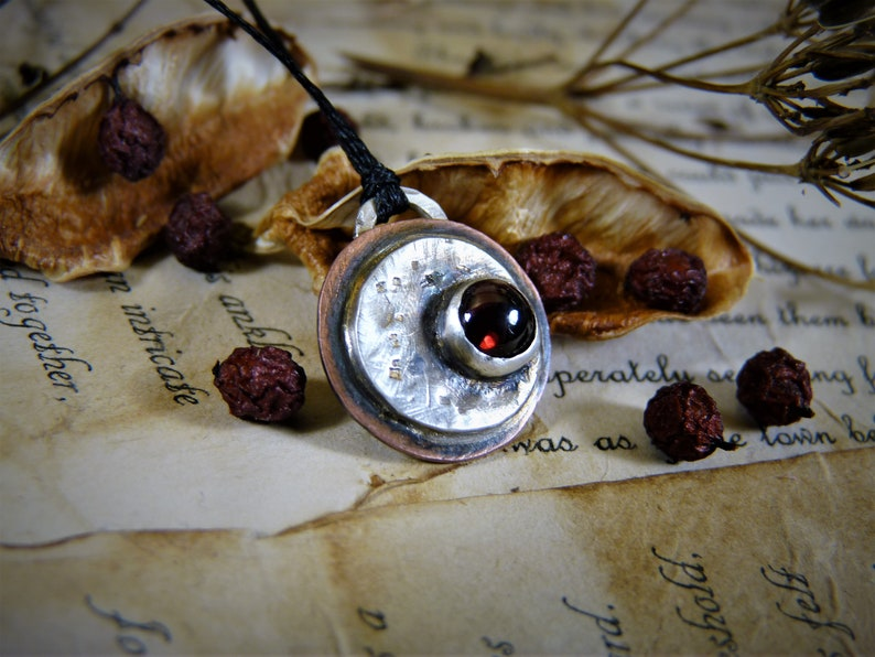 Celestial Jewelry Moon Charm Gemstone Charm Luna Jewelry | Garnet Charm Copper and Silver Moon Necklace Moon Cycle Charm