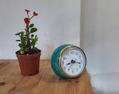 Turquoise, Ball shaped Desk clock, Ball Table clock, Turqouise ceramic table clock, Medium size Retro Vintage style Ball clock Gift under 50