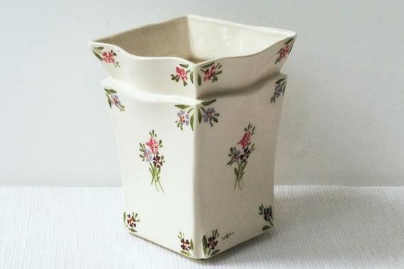 Ceramic Square Vase White Vase Chinese Style Vase White Etsy