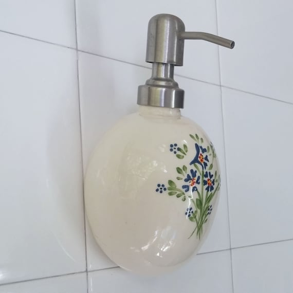 Miraculous Soap Dispenser Wall Mounted Soap Dispenser Ceramic Soap Pump Ceramic Soap Dispenser Shampoo Lotion Liquid Dispenser Blue Flowers Handmade Theyellowbook Wood Chair Design Ideas Theyellowbookinfo