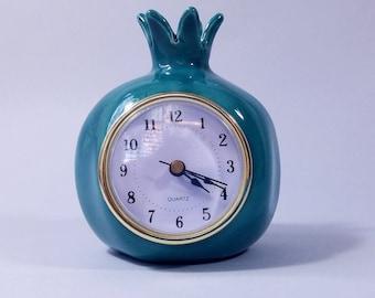 Dark turquoise pomegranate clock, Table clock, Desk clock, Ceramic clock, Retro Vintage style Clock, Shelf clock, Handmade pomegranate shape