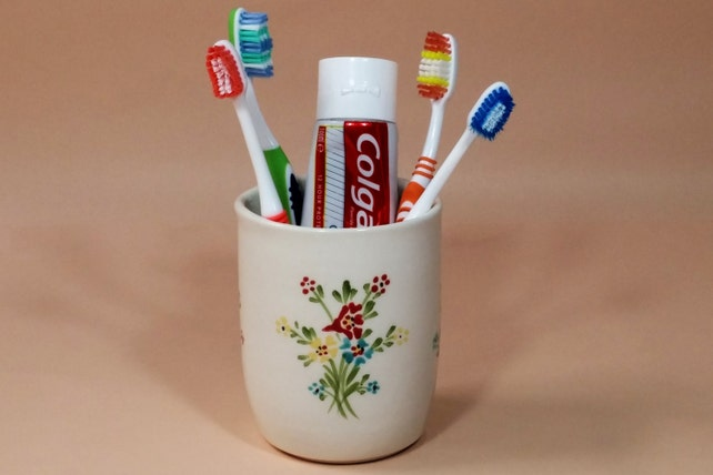 Toothbrush Holder White Ceramic Toothbrush Holder Bathroom Etsy