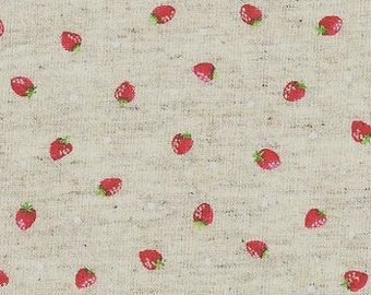 Itty Bitty Strawberries on Natural Linen - Kawaii Japanese Import Cosmo Fabric - OOP VHTF Rare