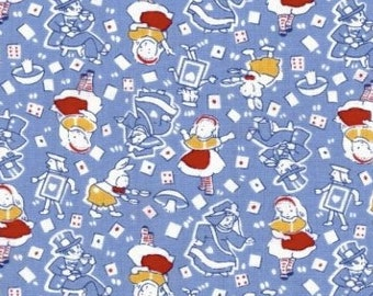 Alice in Wonderland Fabric in Blue/Red  - Vintage Retro 30's Reproduction Fabric - Out Of Print OOP Rare HTF