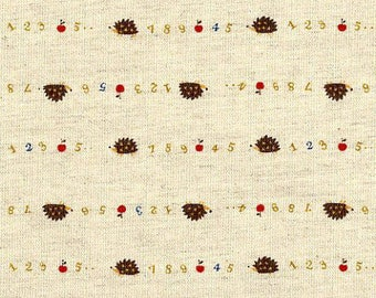 Trefle Hedgehogs Apples & Numbers in Brown on Natural Linen/Cotton - Japanese Import Fabric - OOP VHTF