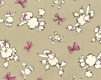 Trefle Poodles & Bows in Grey on Natural Linen and Cotton Canvas - Kawaii Dogs Animals Japanese Import Fabric Remnant - OOP VHTF