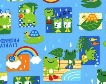 Lively Friends Frog Fabric - Kawaii Japanese Import Fabric - Out Of Print OOP HTF