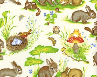 Woodland Critters -  Animal Nature Woods Fabric Vintage Retro Children Kids Michael Miller Out Of Print OOP HTF Rare