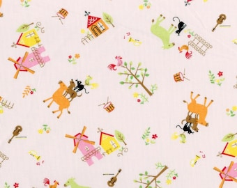 The Brementown Musicians in Pink - Kawaii Fairytale Cosmo Japanese Import Fabric OOP HTF Rare