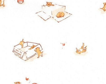 Heather Ross - Munki Munki Fabric - Free Kittens on Flannel - OOP Out Of Print - Very Hard To Find