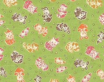 Merry Bon Bon Dolls in Green - 30's Vintage Repro Retro Kawaii Fabric - Elephant Kitten Bunny Puppy Chick Duckling - Japanese Import - OOP