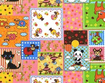 Kawaii Animal Patchwork Fabric - Smiling Forest Panda Deer Bird Elephant Cat Squirrel Bear - Cosmo Japanese Import Fabric - OOP VHTF Rare