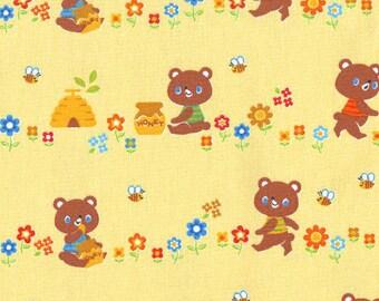 Honey Bears in Yellow - Cute Kawaii Baby Nursery Push Pin Japanese Import Fabric - OOP VHTF