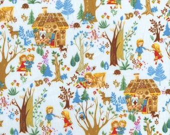 Hansel and Gretel in Blue - Cosmo Textiles Japan - Kawaii Fairy Tale Japanese Import Fabric - OOP VHTF Rare