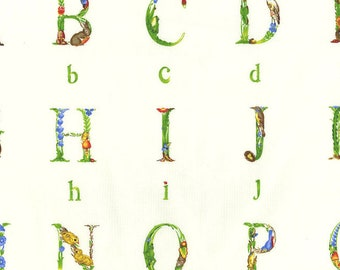 Woodland Font Fabric -  Animal Trees Flowers Plants Alphabet Fabric Vintage Retro Michael Miller Out Of Print OOP HTF