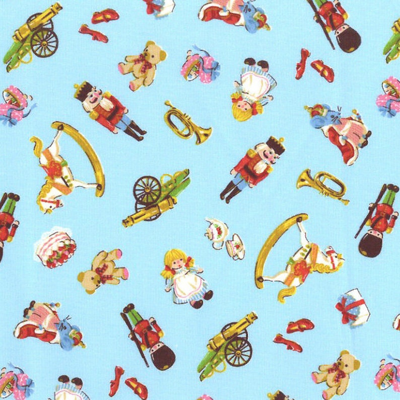 OOP VHTF The Nutcracker Fabric in Blue Kokka Kawaii Japanese Import Fabric Toy Soldiers Christmas Toys Ballet