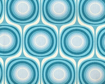 Mondo Canvas in Blue - 60's 70's Retro Reproduction Vintage Barkcloth Fabric - Out Of Print OOP HTF Rare