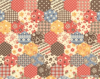 Arizona Rabbit Cheater Patchwork in Pink/Brown - Retro Kawaii Western Cowboy Cowgirl Bandanna Quilt Fabric - Lecien Japanese Import OOP HTF