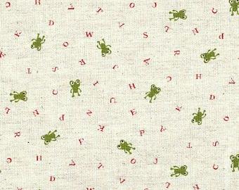 Trefle Frogs & Alphabet on Natural Linen/Cotton - Kawaii Japanese Import Fabric - OOP VHTF Rare
