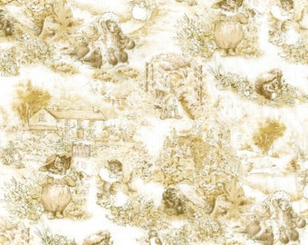 Beatrix Potter Fabric  - Garden Toile in Sepia - Peter Rabbit Jemima Puddleduck  - BTFQ Out Of Print OOP VHTF