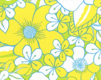 West Palm Beach Floral in Yellow - 60's 70's Retro Upholstery Reproduction Vintage Fabric - Out Of Print OOP HTF BTHY