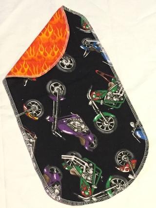 Motorcycles Handmade Flannel Baby burp rags