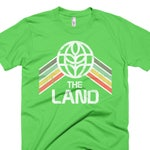 The Land T-Shirt with Green, Yellow and Red Rainbow Stripes - A Retrocot Original