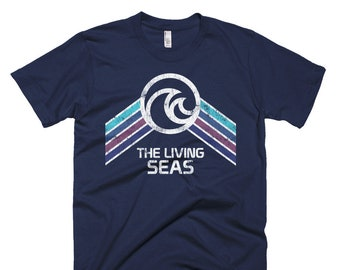 The Living Seas Pavilion T-Shirt with Teal, Blue and Purple Rainbow Stripes - A Retrocot Original
