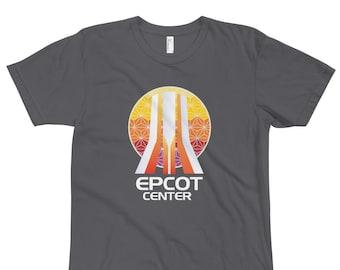 EPCOT Center Fountain Shirt - Featuring EPCOT Fountain Acrylic Pylons and Spaceship Earth - A Retrocot Original