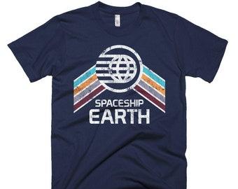 Spaceship Earth T-Shirt with Teal, Orange and Purple Rainbow Stripes - A Retrocot Original