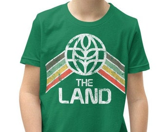 The Land Youth Short Sleeve T-Shirt with Green, Yellow and Red Rainbow Stripes - A Retrocot Original