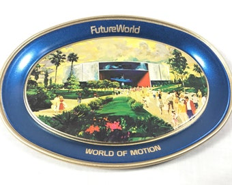 Epcot Center World of Motion Metal Tray from 1982 Future World Featuring Imagineer Claude Coats Concept Art - Walt Disney World