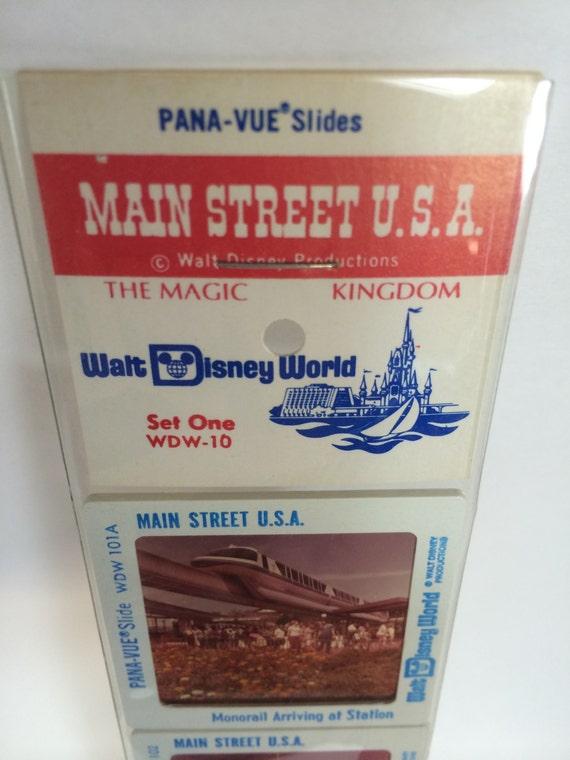Walt Disney World Main Street U.S.A Pana-Vue Slides VintageRetro Disneyana New in Package Set of 5 Five USA