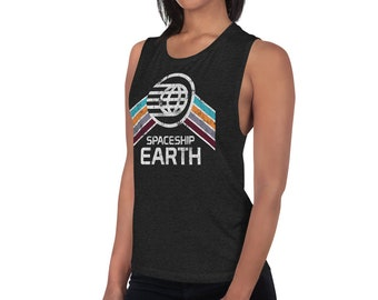 Spaceship Earth Bella 8803 Women's Muscle Tank Top with Teal, Orange and Purple Rainbow Stripes - A Retrocot Original