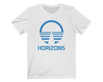 Horizons Logo in Blue T-Shirt from EPCOT Center Attraction Pavilion Shirt - A Retrocot Original