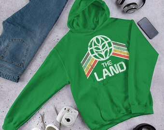 The Land Sweatshirt with Pavilion Logo and Green, Yellow and Red Rainbow Stripes - A Retrocot Original