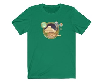 The Land EPCOT Pixelated T-Shirt with The Land Pavilion, The Land Logo, Hot Air Balloons and Entrance - A Retrocot Original