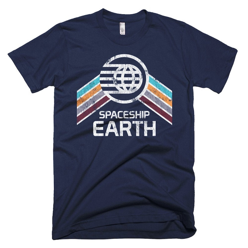 Spaceship Earth T-Shirt with Teal Orange and Purple Rainbow Navy