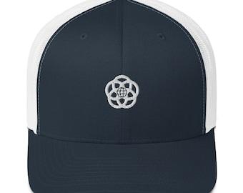 EPCOT Center Logo Hat - Six-Panel Trucker Cap Mesh Back Embroidered EPCOT logo - A Retrocot Original