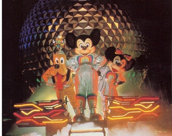 EPCOT Center Character 5x7 Photo in front of Spaceship Earth from 1982 - Mickey Mouse Minnie Mouse and Pluto