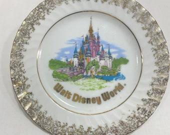 Walt Disney World Cinderella Castle Decorative Gold Foil Painted Plate Hanging String, Walt Disney Productions, Magic Kingdom, Made in Japan
