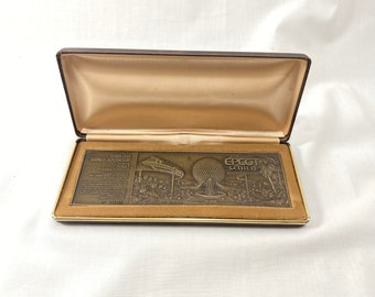 """EPCOT Center Commemorative Bronze Ticket from October 1,1982 Paper Weight  6"""" x 2"""" Walt Disney World One of a Kind Gift"""