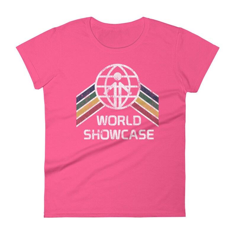 World Showcase EPCOT Center Women's Cut Shirt  EPCOT Hot Pink