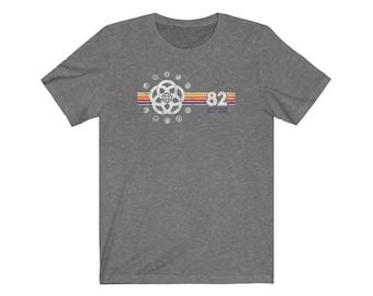 EPCOT Shirt - EPCOT Center T-Shirt with Pavilion Logos and a Yellow, Orange, Red, Purple Stripe Rainbow - A Retrocot Original