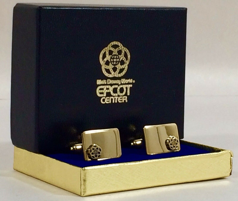 Anson EPCOT Center Vintage Cufflinks in Gold Tone  1980's image 0